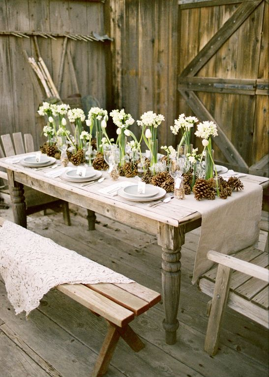 delicate white flowers & pine cones