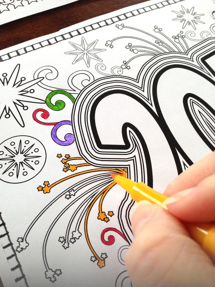 coloring pages for adults teens new year 2016