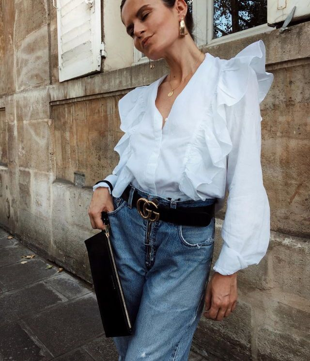 Blouse, belt and denim