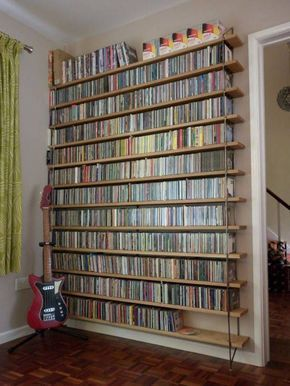 Storage And Organization , DVD Storage Solution Ideas : Industrial Style Open Shelves Dvd Storage Solution