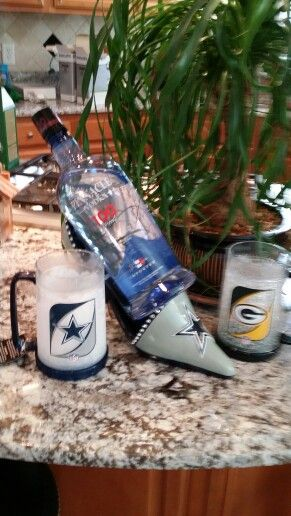 Dear Mom, I realize this was to hold a wine bottle but after the Dallas/Green Bay game I've switched to 100 proof vodka