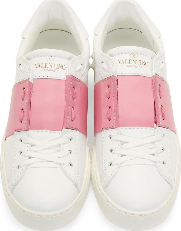 Valentino White & Pink Low Top Sneakers