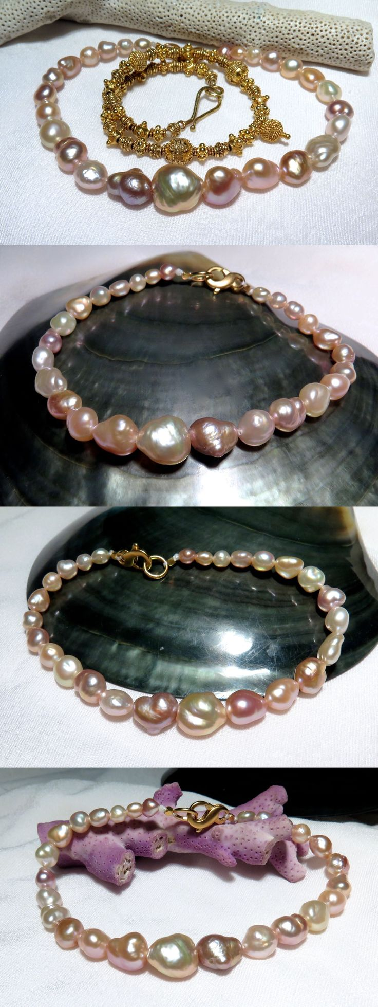 Pearl 164316: Exquisite Aaa+ Japan Kasumi 4.3-10Mm Pink Purple Apricot Keshi Pearl Bracelet 8 -> BUY IT NOW ONLY: $599 on eBay!