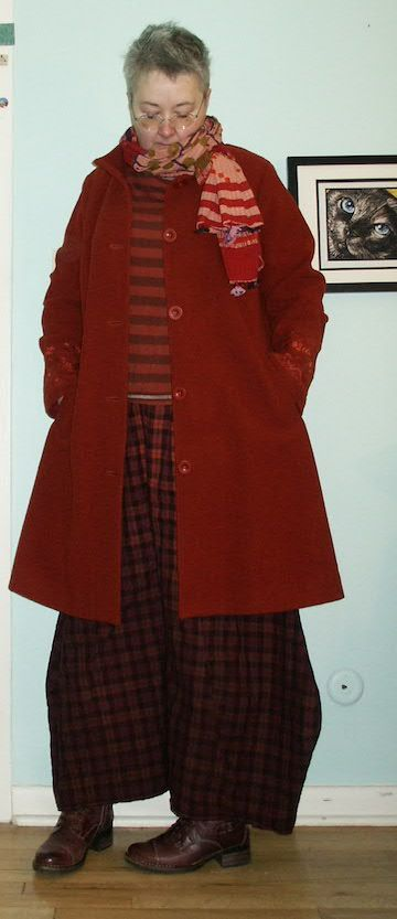 Gudrun Sjoden tee shirt and coat, with Blue Fish flannel pants, Taos boots, and a hand block-printed scarf from India (12/2017)