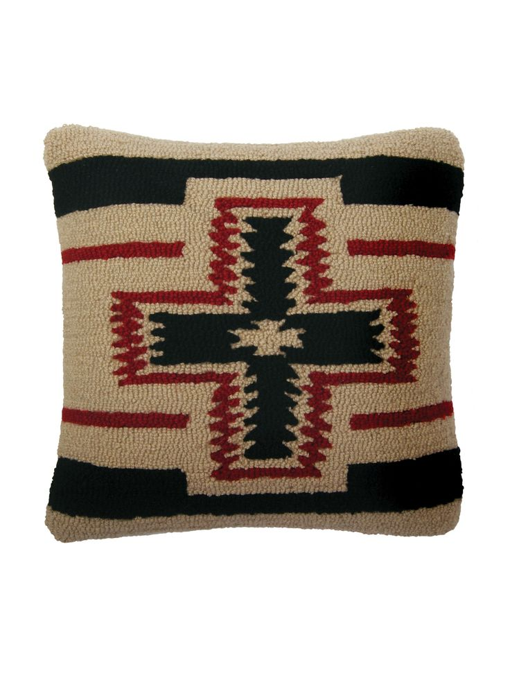 """Our San Miguel blanket pattern is hand-hooked in pure wool on the front of this throw pillow. Back is black cotton velvet. Feather fill, zipper closure. Imported. 18"""" x 18"""". *Quantities are limited be"""