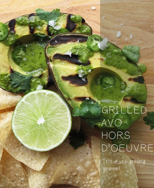 Grilled Avo Hors D'oeuvre with cilantro lime dressing #recipe