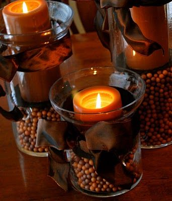 Fall decorations the ribbon candle decorations and for Fall candle centerpiece ideas