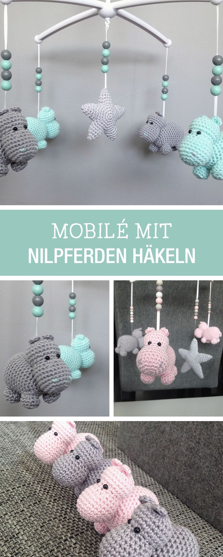 DIY-Anleitung: Fliegende Nilpferde als Mobile häkeln, Kinderzimmerdeko / DIY tutorial: crocheting flying hippos as mobile for your baby to fall asleep via DaWanda.com