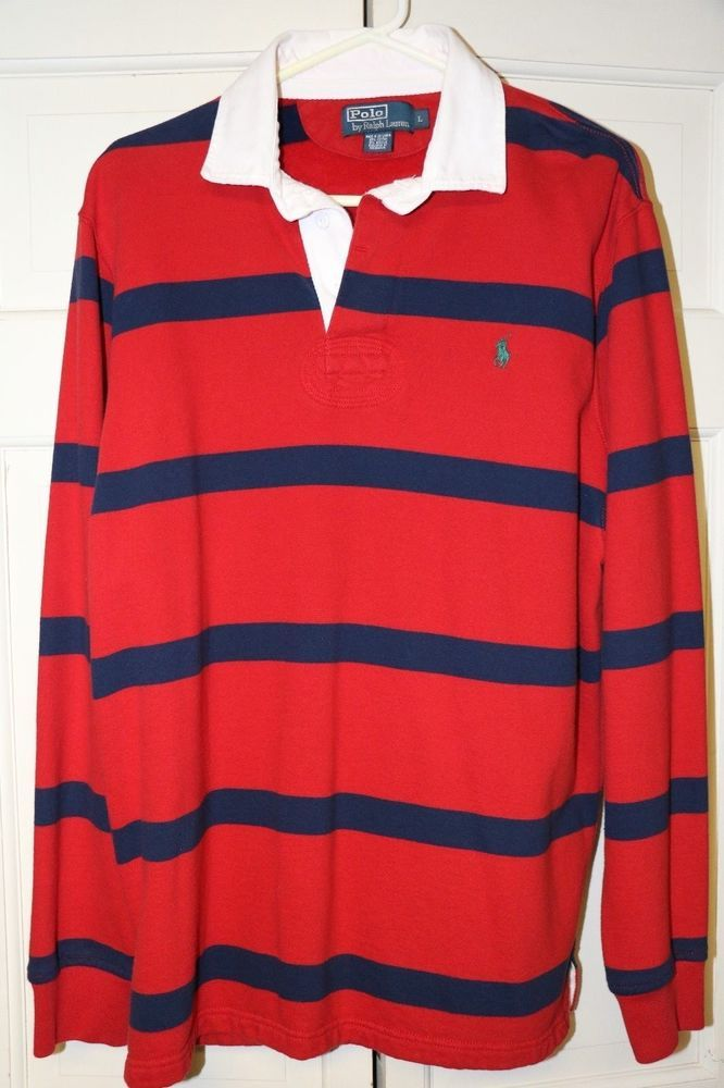 d8791367677 Polo Ralph Lauren Men's Large Iconic Stripe Long Sleeve Rugby Shirt Red  Blue #PoloRalphLauren #PoloRugby