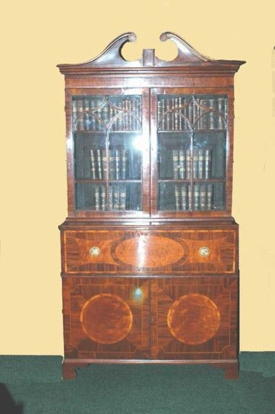 A George III Mahogany & Satinwood Inlaid Secretaire Bookcase - Art and Antiques - Online Galleries Extranet