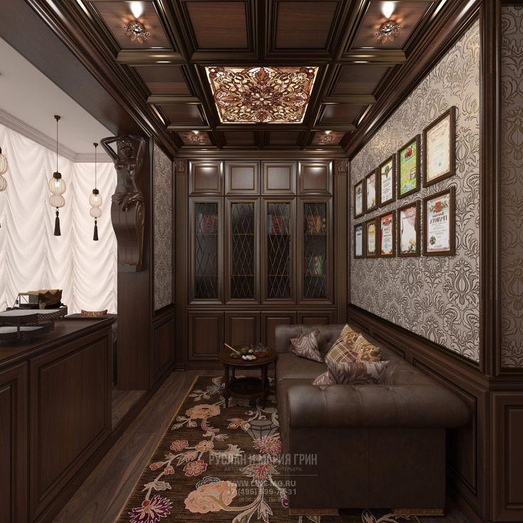 Дизайн кабинета в квартире в классическом стиле.