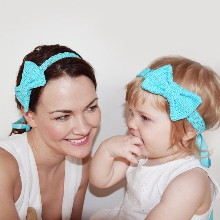 Mommy and Me Matching Headbands, Matching Mother Daughter Fashion Headbands, Crochet Aqua Blue Bow Headbands for Mommy and Daughter by KeraSoftwear on Etsy