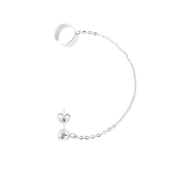 Cuff earrings in sterling silver