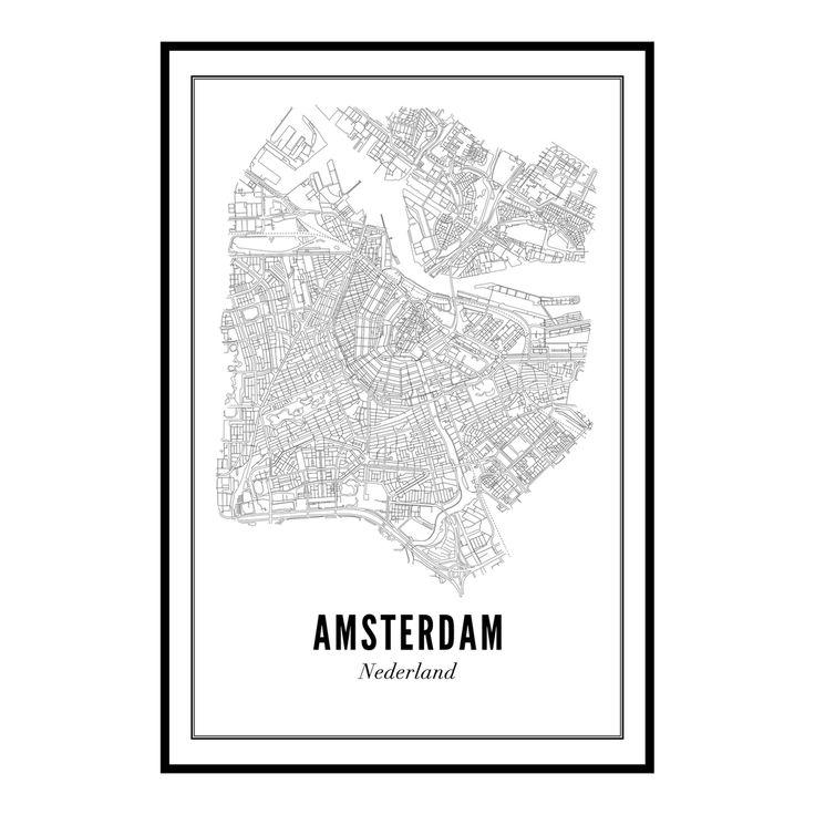 Een unieke print van heel Amsterdam aan de muur? De plattegrond van heelAmsterdam kun je bestellen op verschillende formaten, voorzien van een lijst,klembord