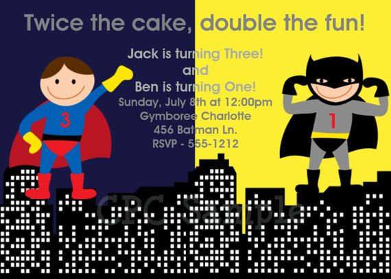 $15 Free Printable Superhero Birthday Invitations | ... Superhero Birthday Party Invitations Twins Siblings Printable Printed