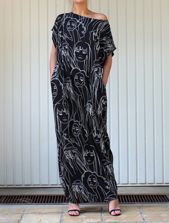 Black and White Maxi Dress Caftan  Cotton by cherryblossomsdress