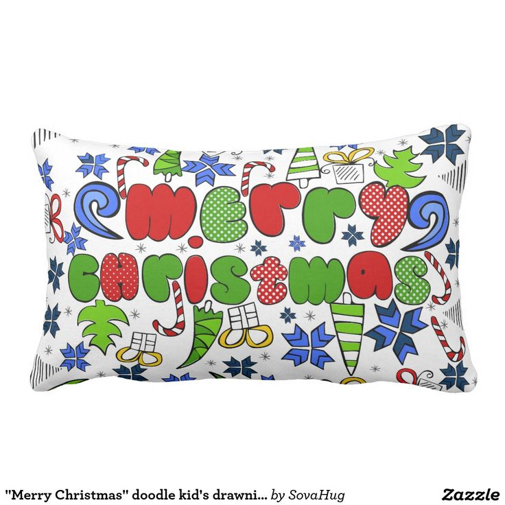 """""""Merry Christmas"""" doodle kid's drawning style Throw Cushions"""