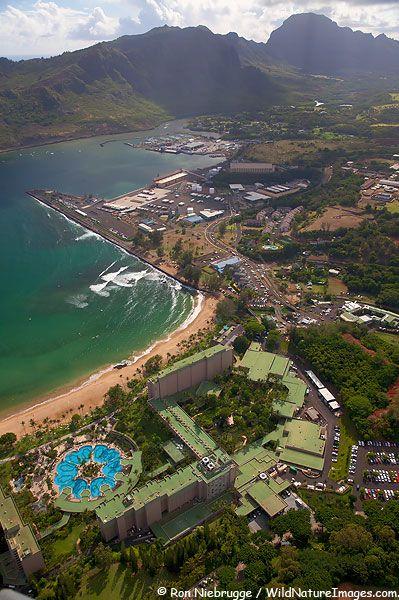 Aerial of Nawiliwili Harbor, Kalapaki Beach and Kauai Mariott Resort, Lihu'e, Kauai, Hawaii