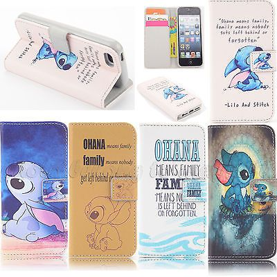 Lilo And Stitch Design Wallet Flip Leather case for Iphone Samsung A1-0011