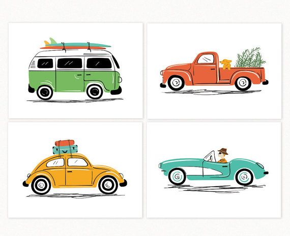 Adorable vintage cars art set. Featuring four vintage car illustrations that capture the vibe of each of the cars. Road trip on a VW Beetle, Surf trip on a VW Bus, touring the California Coast on a vintage Corvette, and a visit to the nursery with your dog on a vintage pickup. Original Illustrations by Lucy Loves Paper. Digitally printed. Manufactured in the USA. • Set of 4 prints • SIZE: 7x5 inches or 10x8 inches • INK: High density archival pigments • PAPER: Ultra Premium. Fine Art Paper…
