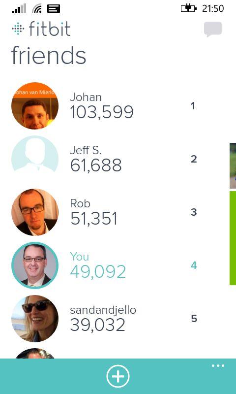 Windows Phone Fitbit Friends List