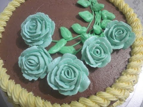 decorating buttercream roses cake (the whole process!) - YouTube