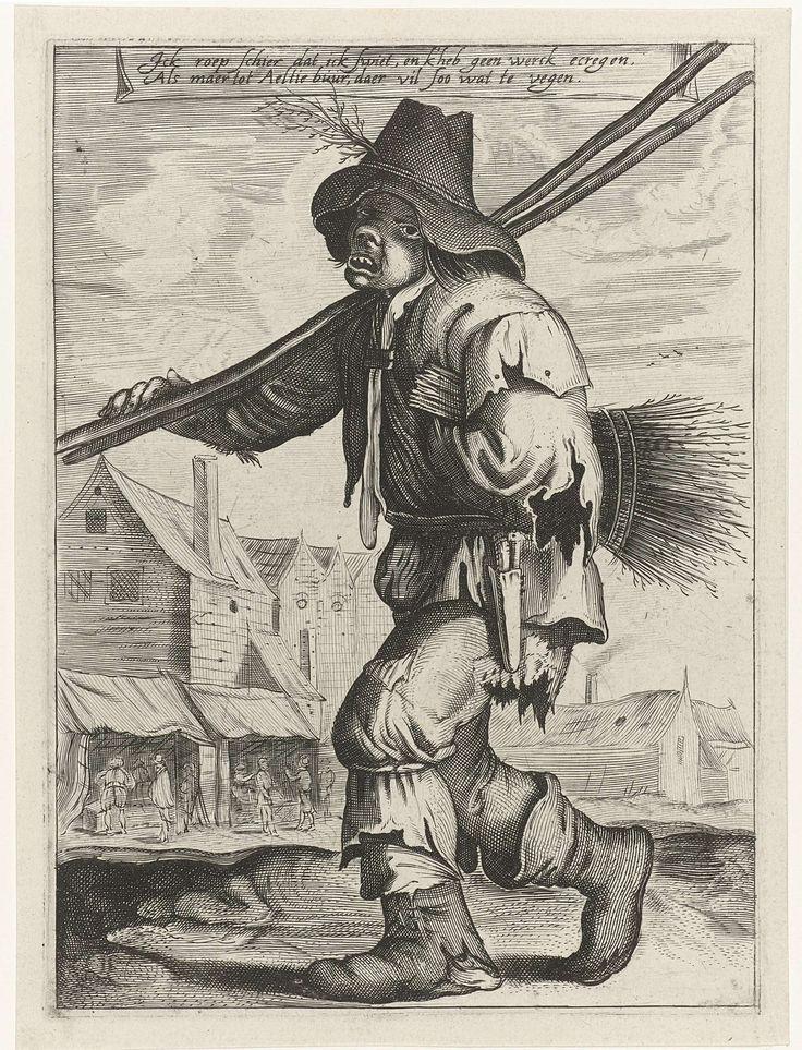 anoniem | Schoorsteenveger, attributed to Jan Matham, 1628 - 1648 | Een schoorsteenveger in lompen gekleed en met hoed, met stokken over de schouder en onder zijn arm een bos samengebonden takken. Op de achtergrond een dorp met figuren bij twee marktkramen.