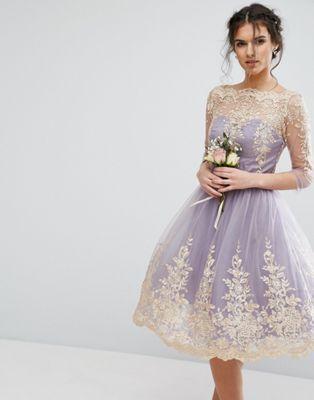 Chi Chi London Metallic Premium Lace Midi Dress with 3/4 Sleeve
