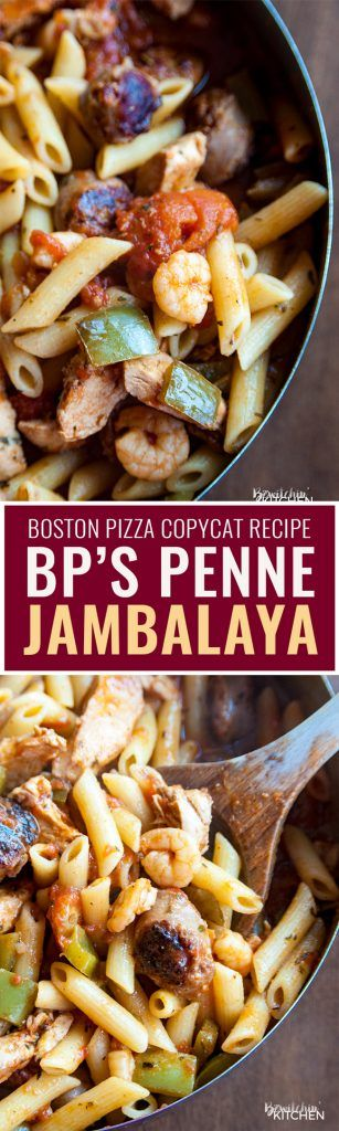 Inspired by Boston Pizza Jambalaya, this Penne Jambalaya is awesome and is a copycat of Boston Pizza's version. Shrimp, chicken, pasta, hot italian sausage, tomatoes and green peppers. What's not to love?