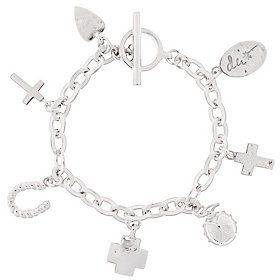"""QVC As Is Shawn's """"Courage Charms"""" 7-1/4"""" Sterling Bracelet, 32.4g"""
