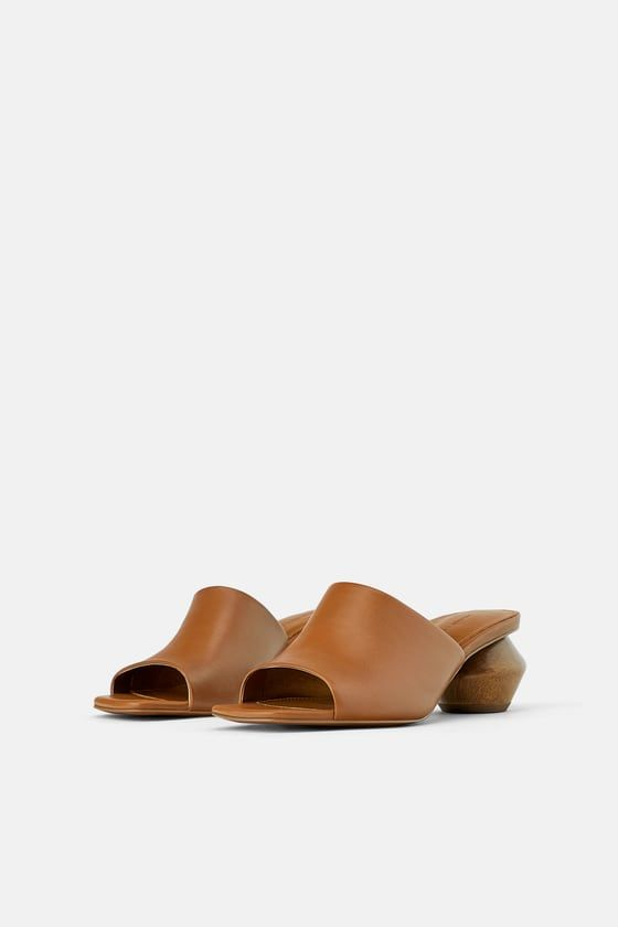 2b8a574a38017 LEATHER MULES WITH GEOMETRIC WOOD LOOK HEELS - MOM-WOMAN-CORNER SHOPS | ZARA  United States