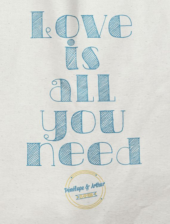 Tote bag personnalisé mariage - Love is all you need