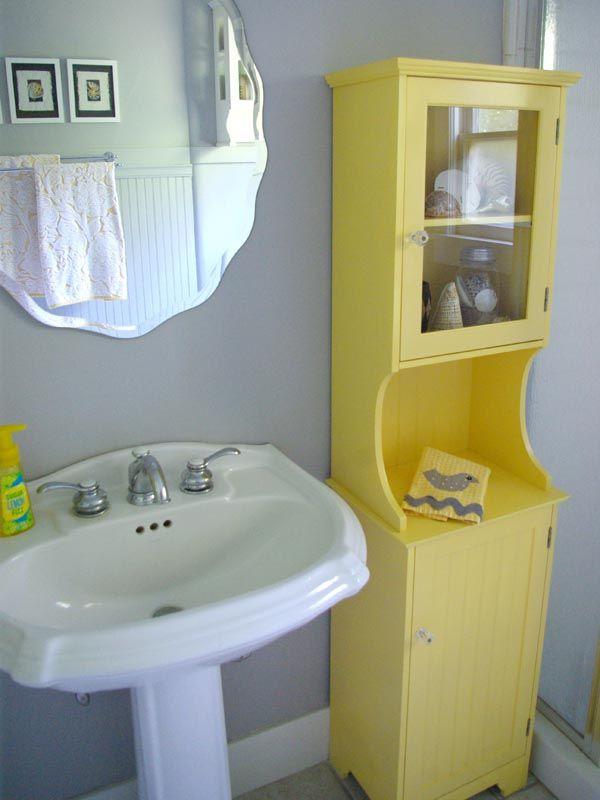 Yellow Bathroom Sink Part - 43: Oleander+Palm Home Tour: Grey U0026 Yellow Bathroom Redo