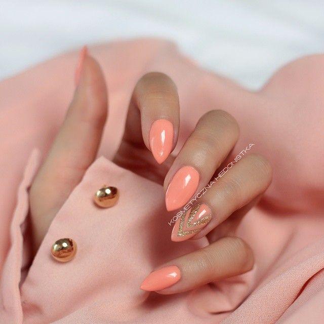 Semilac Peach Milk & Gold Disco  #nailsdid #nailart #newin