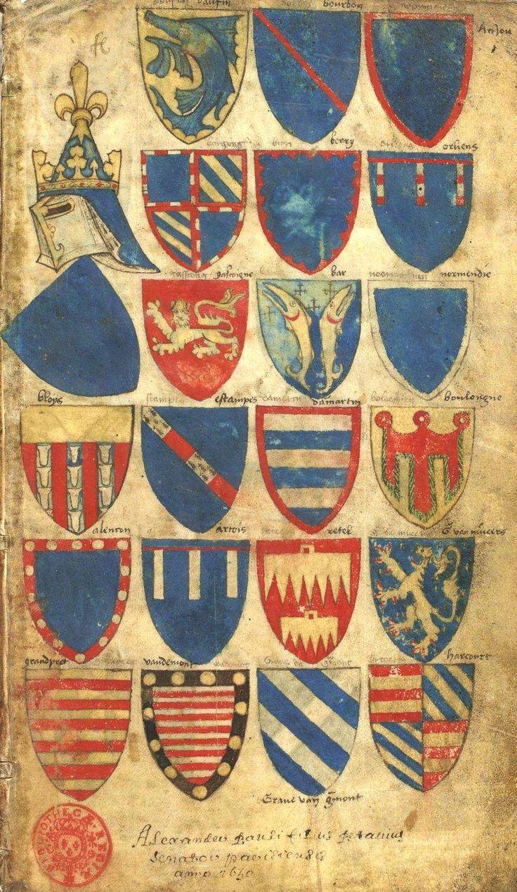«Armorial BELLENVILLE» (ou) «Armorial Beaulaincourt», 1386 [BNF Ms Fr 5230] -- La marche de France [le peintre s'est arrêté au moment d'ajouter les fleurs de lis...].