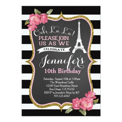361 best vintage birthday party invitations images on pinterest paris eiffel tower birthday party invitation filmwisefo
