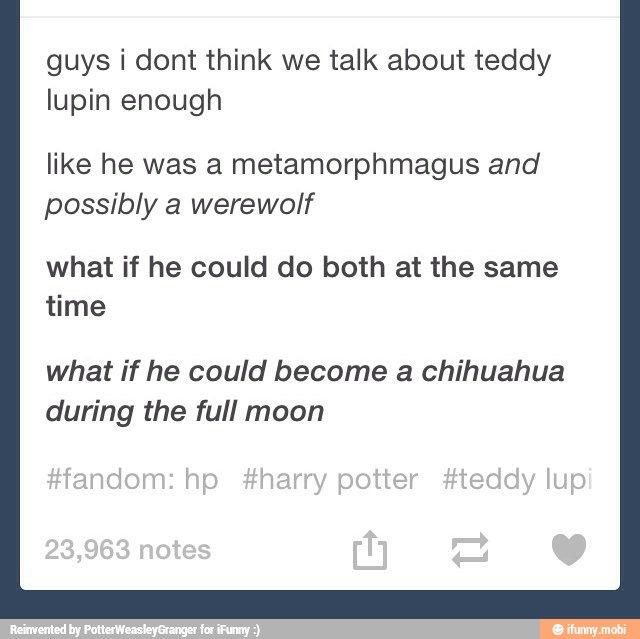 I realized this when I finished Deathly Hallows and my first thought was: Bright. Orange. Werewolf.
