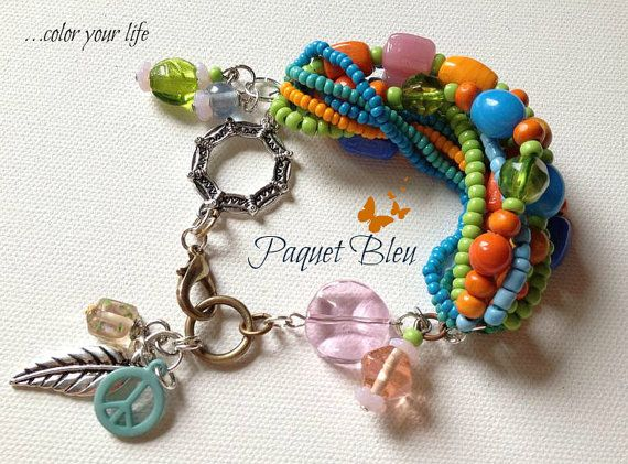 Colorful unique bohemian hippie style bracelet by PaquetBleu