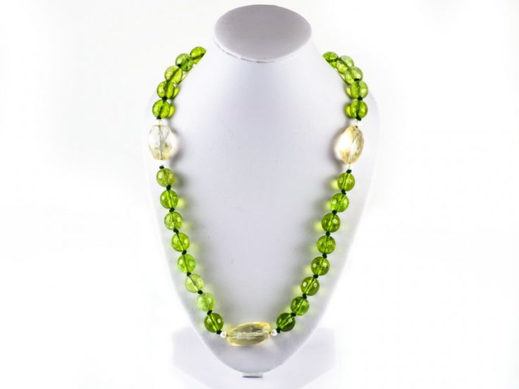 Loose Faceted Green Peridot & Citrine Gemstone Necklace | The Beaded Garden