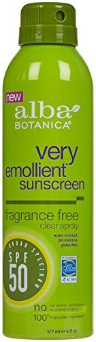 Alba Botanica Very Emolient Continuous Clear Spray Sunscreen SPF 50 - Fragrance Free * Read more at the image link.
