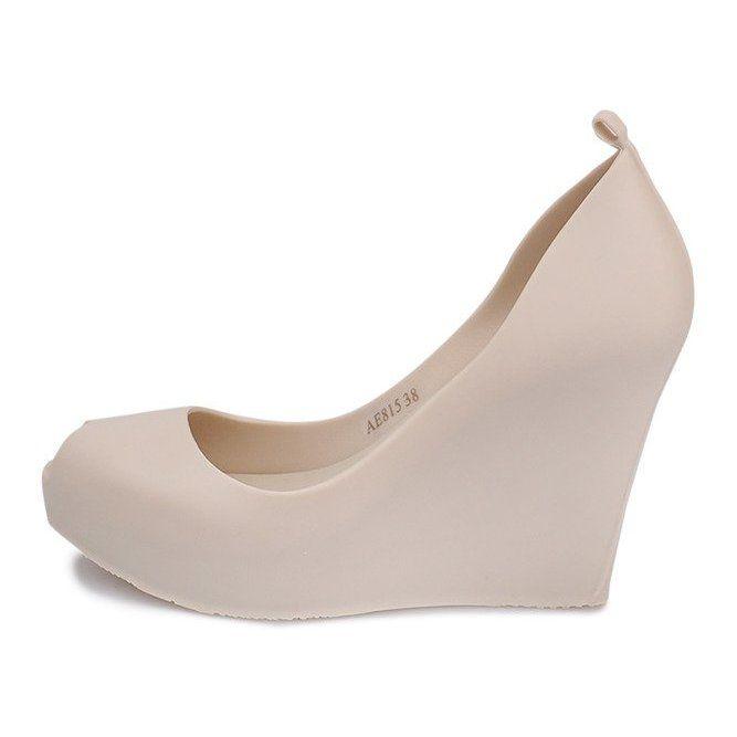 Meliski Na Koturnie Odkryte Ae815 Bezowy Shoes Wedges Fashion