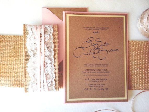 RUSTIC WEDDING INVITATIONS - kraft burlap lace wedding invite set on Etsy, $4.43 AUD