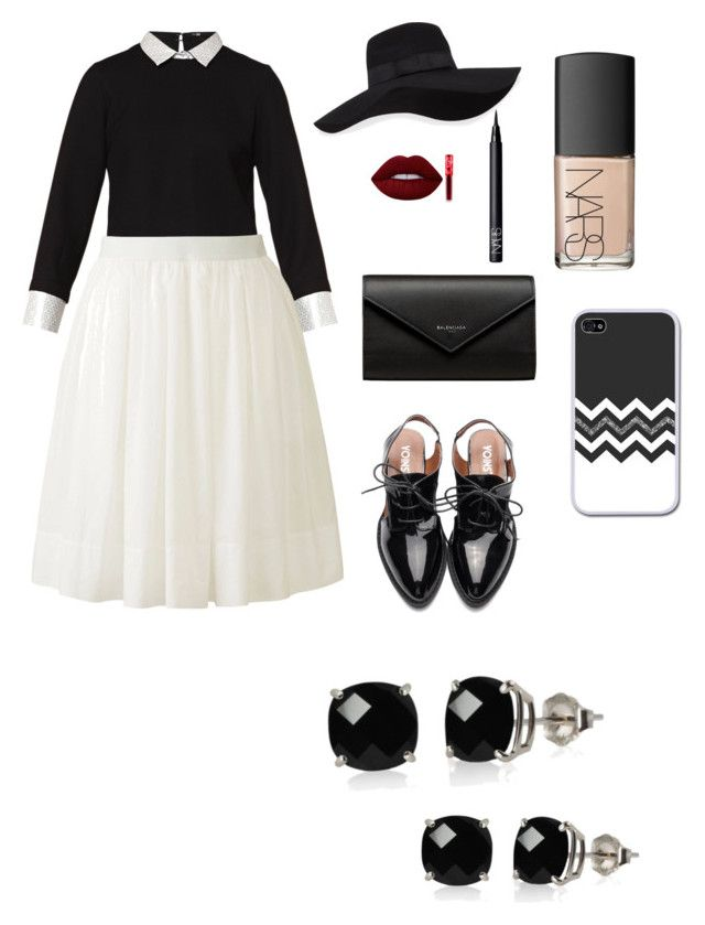 """Untitled #8"" by sofiaskvrekova on Polyvore featuring Maje, Uniqlo, Balenciaga, San Diego Hat Co., Lime Crime, NARS Cosmetics and Belk & Co."