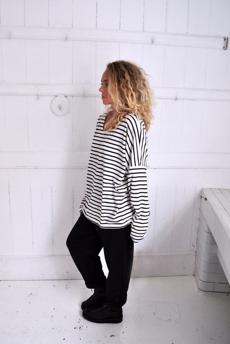 Organic Cocoon Tee- Black and White Stripe