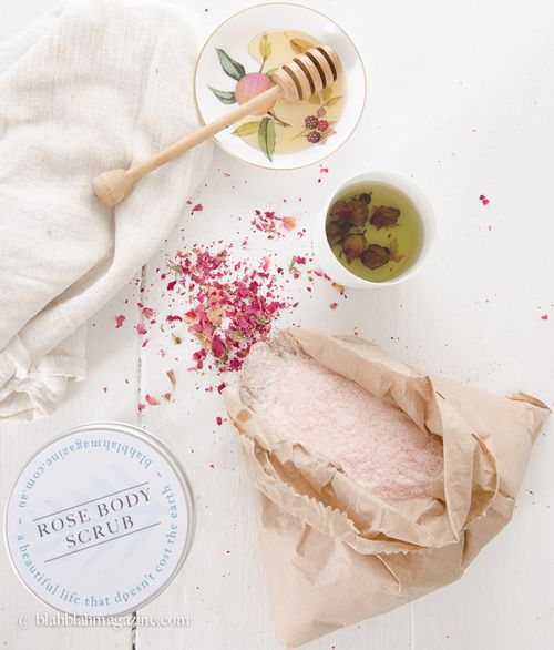 DIY Homemade Rose Body Scrub Recipe by Cybele Masterman. #blogsociety #wellness #DIY #bodyscrub