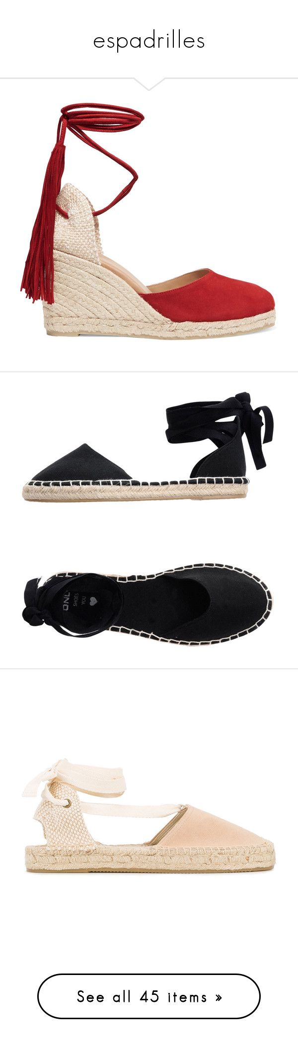 """""""espadrilles"""" by hello-crazy ❤ liked on Polyvore featuring shoes, sandals, heels, wedges, heeled sandals, red suede sandals, red fringe sandals, espadrille wedge sandals, wedges shoes and black"""