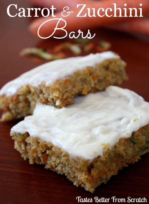 Carrot Zucchini Bars with Lemon Cream Cheese Frosting on MyRecipeMagic.com