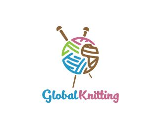Global Knitting Logo design - Logo design of a knitting ball of thread and needles shaped like a planet.  Price $299.00