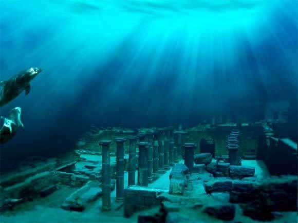 Submarino cubano city..Giant pirámides y esfinges han encontrado frente a la costa oeste de Cuba . Esta zona no se informa, una parte del Triángulo de las Bermudas .