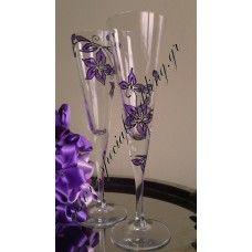 Σετ 2 ποτήρια γάμου Μωβ επιθυμία SET of 2 hand painted wedding champagne flutes Purple Desire